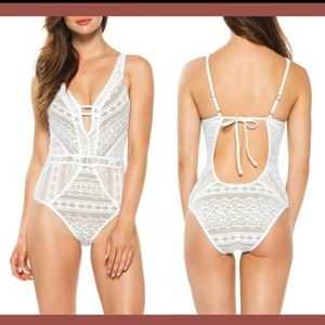 Show and Tell Crochet Plunge One Piece Swimsuit